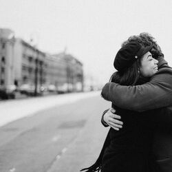Monochrome photo of couple hugging each other 3692605 copy